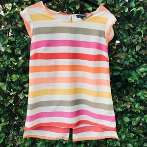 The Limited Striped Short Sleeve Blouse